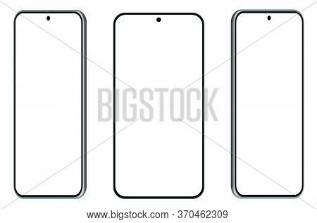 Three 3d Smartphone Mockups In Different Angles, Projections. Ui Modern Design. Blank Screen, Black