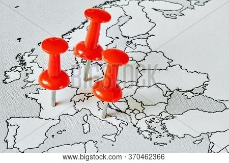Map Of Europe With Red Pushpins Where Is Covid-19 Epidemic. Concept Of The Spread Of The Virus.