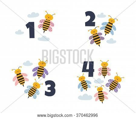 Set Of Cartoon Flying Bees With Numbers. Little Cute Wasp For A Bill Vector Illustration. Funny Inse