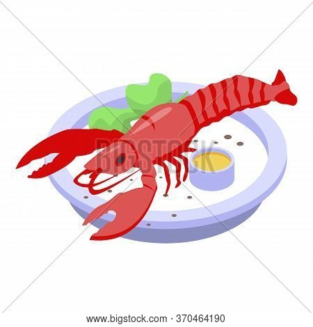 Lobster Dish Icon. Isometric Of Lobster Dish Vector Icon For Web Design Isolated On White Background