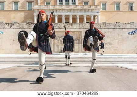 Athens, Greece - October 30, 2019. Changing Of The Presidential Guard Called Evzones In Front Of The