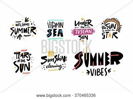 Sun, Summer And Sunshine Phrases Set. Modern Typography. Colorful Vector Illustration. Isolated On W