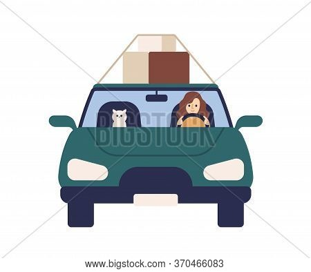 Cute Woman Driver Ride At Automobile With Cat Vector Flat Illustration. Female Driver And Pet Carryi