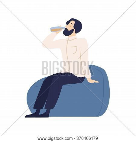 Relaxed Bearded Male Sitting On Comfy Armchair Drinking Refreshing Beverage From Bottle Vector Flat