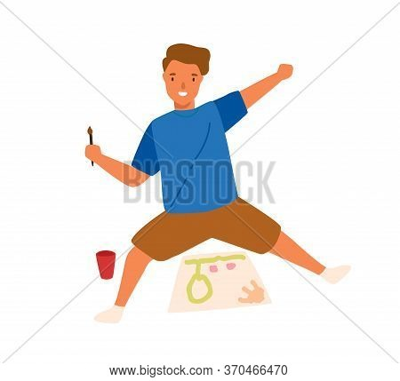 Funny Cute Boy Drawing Picture On Paper Use Brush And Paint Vector Flat Illustration. Joyful Male Ch