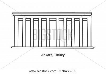 Vector Illustration Of Anitkabir - The Mausoleum Of Ataturk In Ankara, Turkey. Hand Drawn Doodle Lan