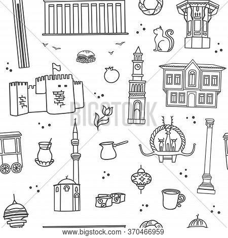 Vector Seamless Pattern Symbols Of Ankara, Turkey. Famous Turkish Landmarks In Modern Line Style. Do