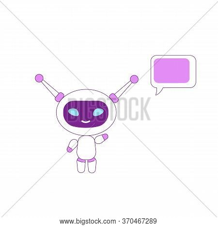 Virtual Assistant Flat Color Vector Character. Boy Bot Waving Hand. Ai Smiling And Greeting. Purple