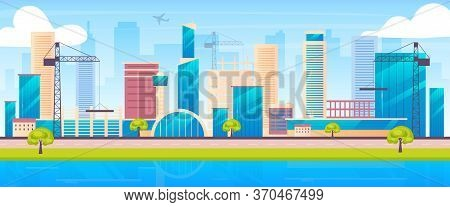 Metropolis Skyline Flat Color Vector Illustration. Urban Construction Site 2d Cartoon Landscape With