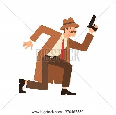 Male Private Detective With Mustache Holding Gun Vector Flat Illustration. Spy Man In Hat And Coat D