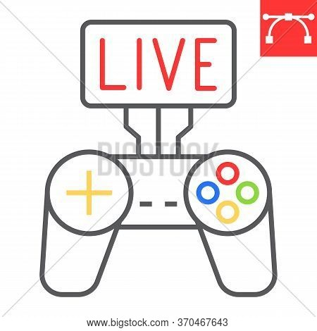 Game Streaming Color Line Icon, Video Games And Stream, Live Stream Sign Vector Graphics, Editable S