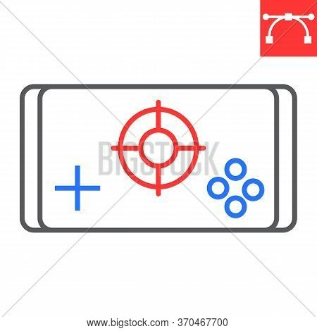 Mobile Game Color Line Icon, Video Games And Smartphone, Mobile Gaming Sign Vector Graphics, Editabl
