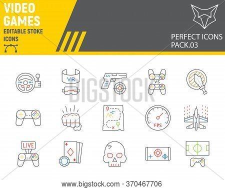 Video Games Color Line Icon Set, Gaming Symbols Collection, Vector Sketches, Logo Illustrations, Vid