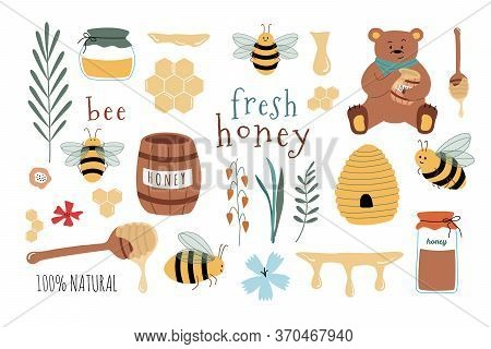 Set Of Cartoon Icons: Bees, Fresh Honey, Jars, Honey Spoon, Flowers, Bear, Honeycomb. Useful For Des