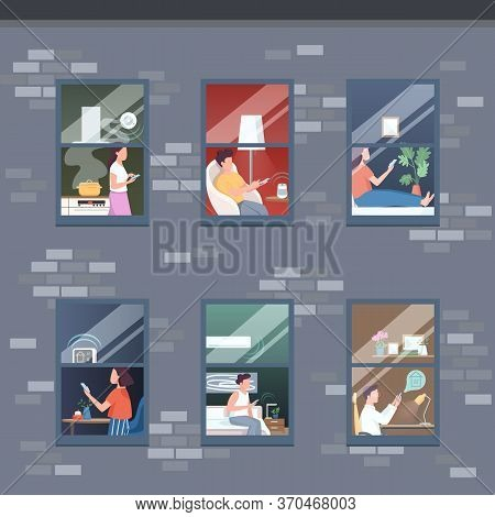 Smart Apartment Floors Flat Color Vector Illustration. Woman Cook Dinner. Man Sit In Armchair. Perso