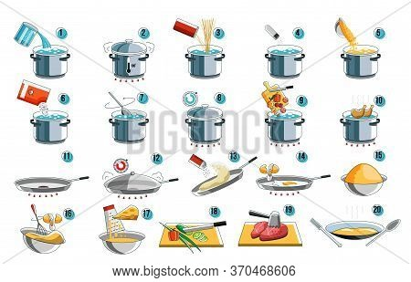 Cooking Instruction. Cook Icon Guide For Food Menu Design With Kithcen Symbol. Preparation Instructi