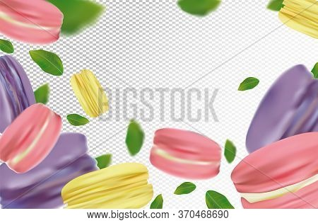 Flying Colorful Macaroons On Transparent Background. France Macaroons In Motion With Green Leaves. S