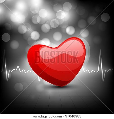 Cardiogram with red heart shape on grey background. EPS 10.
