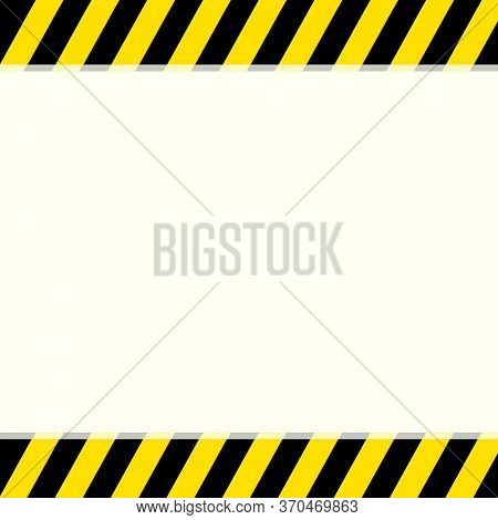 Black And Yellow Warning Stripe Sign On A Top And Bottom Background With Copy Space For Your Text. M