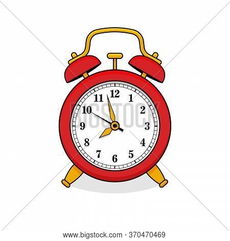 Red Alarm Clock In Retro Style. Icon Analog Watch. Symbol Of Time Management, Chronometer With Hour,