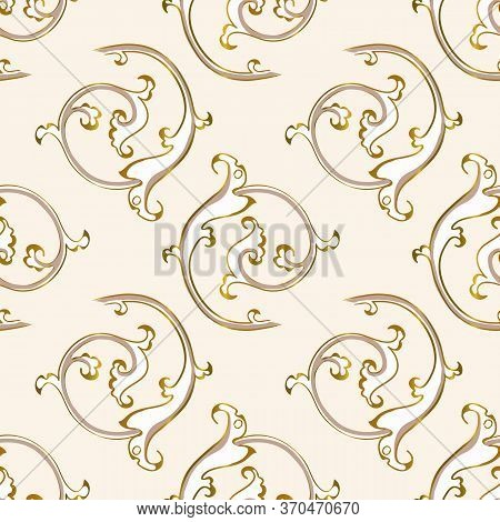 Seamless Pattern In Antique Style Of Acanthus Leaves On White Background. Classic Luxury, Royal Vict