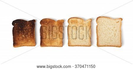 Square Slices Of Bread Made From White Wheat Flour Toasted In Toaster, Food Of Varying Degrees Of Fr