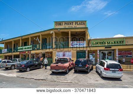 Smith Bay, St. Thomas, U.s. V, Islands (usvi) - April 30, 2019: Shopping Center Coki Point Plaza In