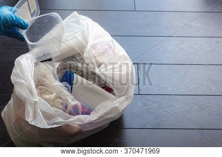 Plastic Trash In The Bag Top View. Recycling Of Plastic Waste. Separate Waste Collection. Environmen