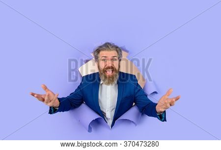 Business. Discount. Sale. Advertising. Through Paper. Happy Businessman. Copy Space For Advertising.