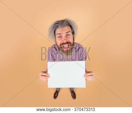 Sale. Discount. Advertising Banner. Happy Man With Blank Board. Bearded Man Shows Empty Board. Space