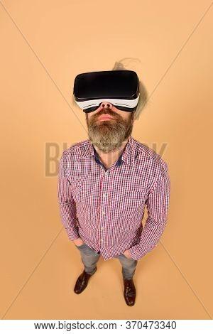 Men Using Vr Headset. Virtual Reality Goggles. Vr Glasses. Man In Virtual Reality Headset. Future. F