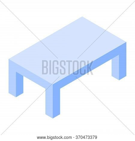 Isometric Dining Table. Large And Massive Table In Blue. Room Interior Element. Indoor Furniture. Ve