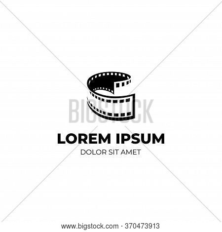 Film Strip Logo Template With Negative Space, Black And White Logo