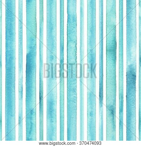 Watercolor Teal Blue Stripes On White Background. Turquoise And White Striped Seamless Pattern. Wate