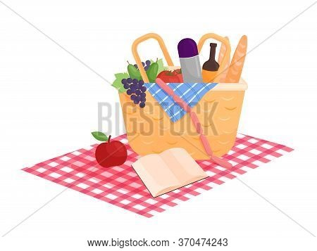 Isolated Illustration. Picnic Basket With A Book On A Red Coverlet