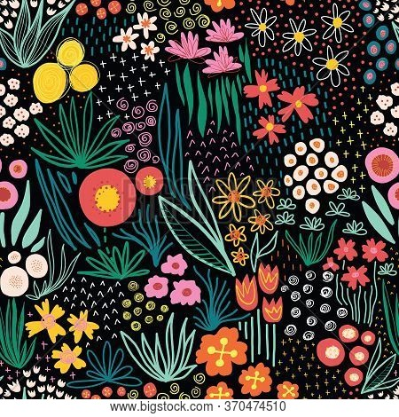 Flower Field Bright Colors On Black Seamless Vector Pattern. Repeating Liberty Doodle Flower Meadow
