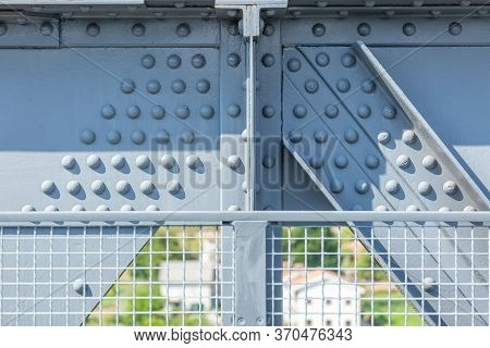 Detailed View Of A Metallic Structure Bridge, Framework And Truss...