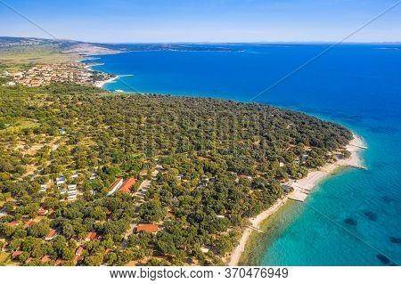 Croatia, Island Of Pag, Beautiful Touristic Resorts, Long Beaches Under Pine Trees, Turquoise Water