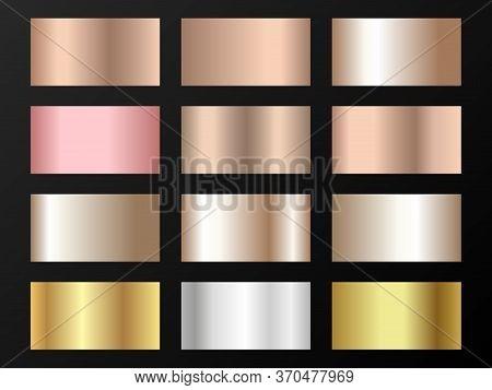 Cool Golden, Silver, Bronze, Pink Gold Gradients. Metallic Foil Texture Silver, Steel, Chrome, Plati