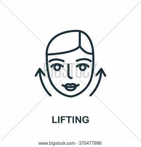Lifting Icon. Simple Element From Cosmetology Collection. Creative Lifting Icon For Web Design, Temp