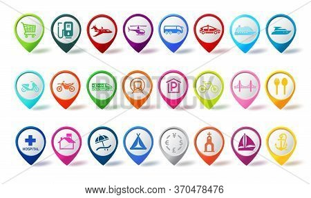 Travel Pin Icon Vector Set. Colorful Travel Map Icons Navigation Pins With Different Sign For Marker