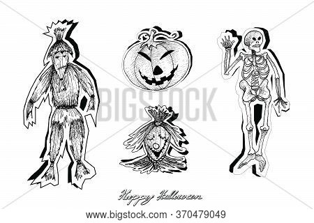 Holidays And Celebrations, Illustration Hand Drawn Sketch Of Jack-o-lantern Pumpkins, Scarecrow And