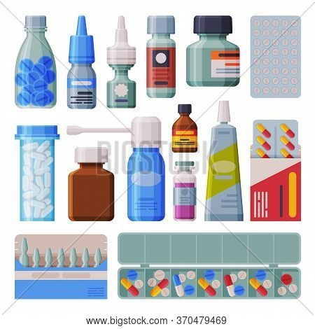 Medicine Bottles And Blister With Capsules Set, Pharmaceutical Products, Medical Prescription Packag