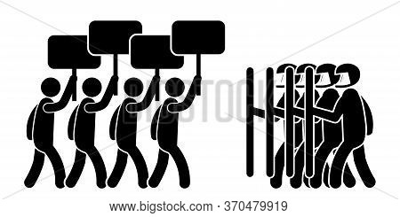 Illustration Depicting Protesters With Signs And Riot Police Law Enforcement. Black And White Eps Ve
