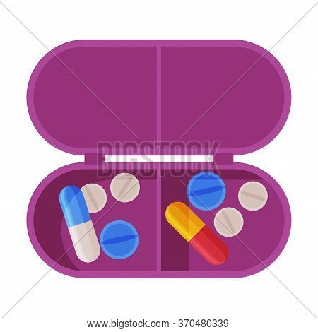 Pill Box Organizer, Pills And Capsules In Plastic Container Flat Style Vector Illustration On White
