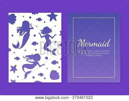 Mermaid Card Template With Silhouettes Of Mermaids, Aquatic Nature Elements And Space For Text, Unde
