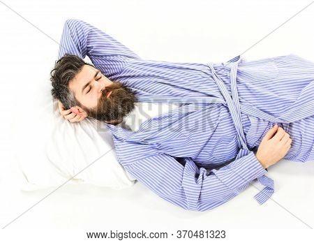 Sweet Dreams. Top View Of Calm Serene Bearded Man