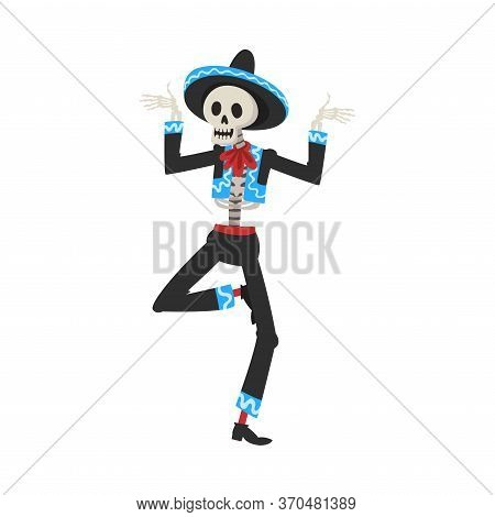 Male Skeleton In Mexican National Costume And Sombrero Hat Dancing At Festival, Day Of The Dead Dia