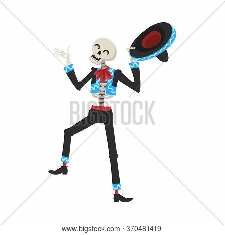 Male Skeleton In Mexican National Costume And Sombrero Hat, Day Of The Dead Dia De Los Muertos Festi