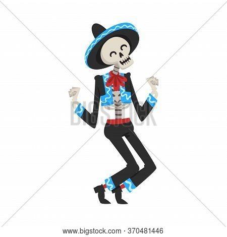 Dancing Skeleton In The Mexican National Costume, Day Of The Dead Dia De Los Muertos Concept Vector
